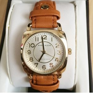 Anne Klein Brown Leather Band Gold Face Watch